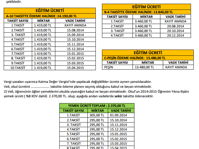 Piri Reis Okul Fiyatları