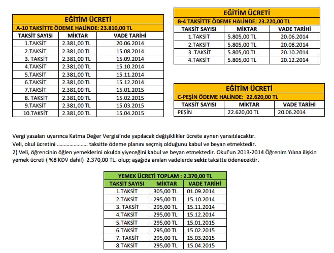Pİri Reis Okul Fiyatları