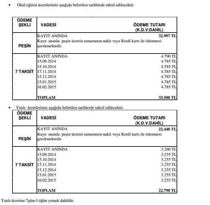 Amerikan Koleji Fiyatları
